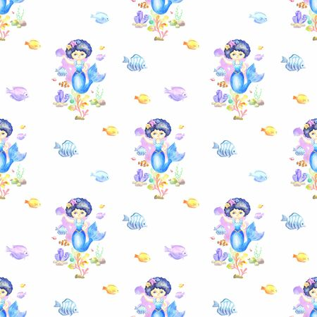 Seamless pattern with beautiful mermaid and exotic fishes. Colorful hand drawn illustrations. Watercolor background. Standard-Bild - 133948080