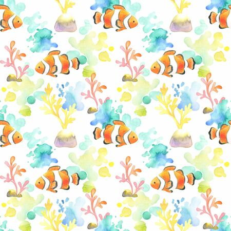 Seamless pattern with beautiful exotic fish. Colorful hand drawn illustrations. Watercolor background.