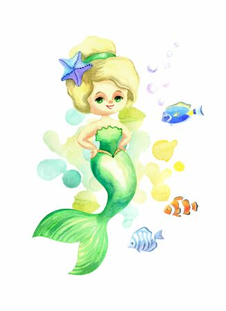 Beautiful mermaid. Colorful hand drawn illustration isolated on a white background. Watercolor painting. Standard-Bild - 131988879