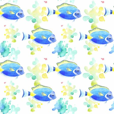 Seamless pattern with beautiful exotic fish. Colorful hand drawn illustrations. Watercolor background. Standard-Bild - 133948082