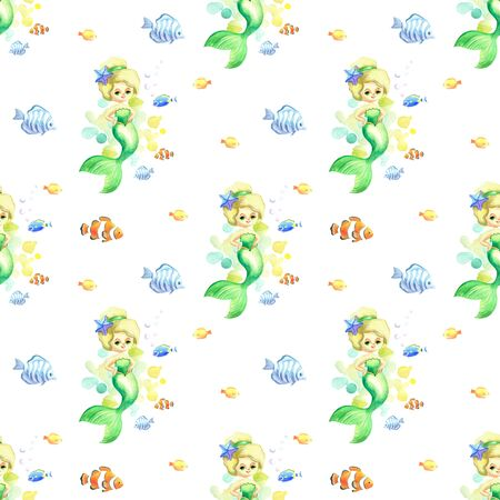 Seamless pattern with beautiful mermaid and exotic fishes. Colorful hand drawn illustrations. Watercolor background. Standard-Bild - 133948081