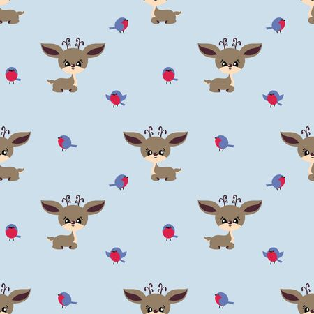 Colorful seamless pattern with cute deer and birds. Christmas vector background. Standard-Bild - 133948090