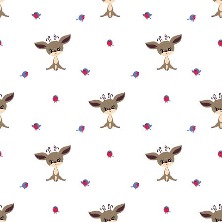 Colorful seamless pattern with cute deer and birds. Christmas vector background. Standard-Bild - 133948089