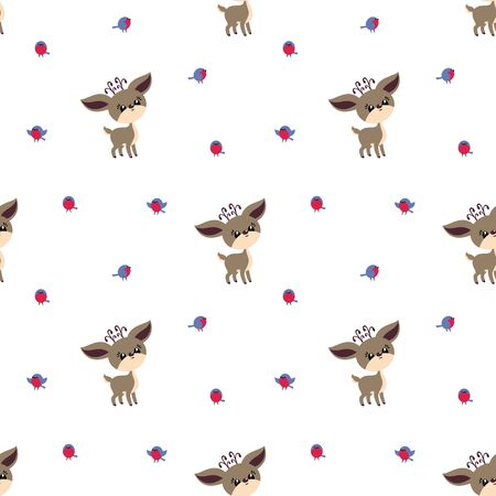 Colorful seamless pattern with cute deer and birds. Christmas vector background. Standard-Bild - 133948087