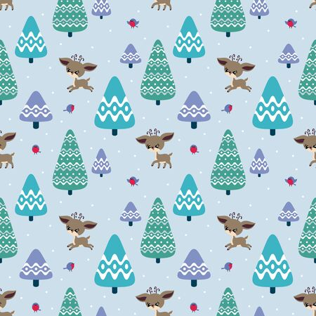 Colorful seamless pattern with cute deer and birds. Christmas vector background. Standard-Bild - 133948085