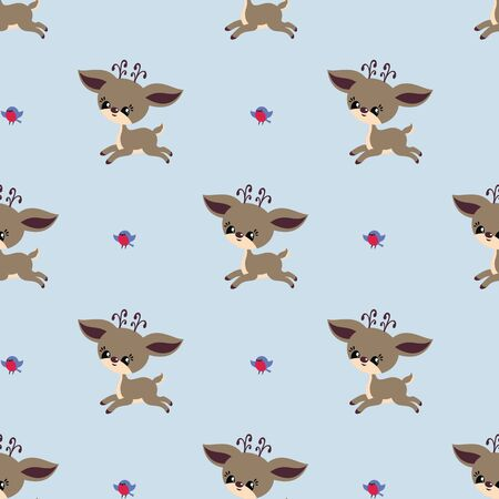 Colorful seamless pattern with cute deer and birds. Christmas vector background.