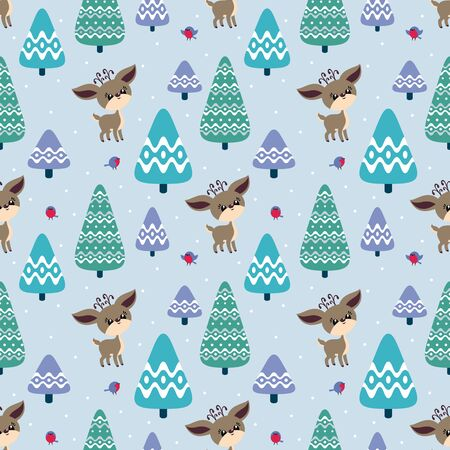 Colorful seamless pattern with cute deer and birds. Christmas vector background. Standard-Bild - 133948093