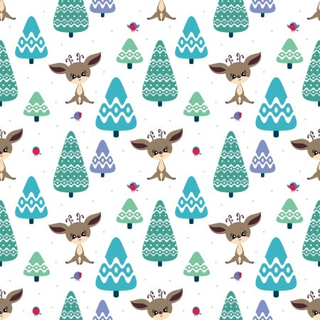 Colorful seamless pattern with cute deer and birds. Christmas vector background. Standard-Bild - 133948099