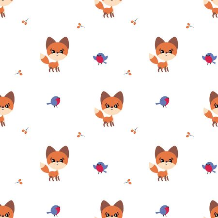 Colorful seamless pattern with cute fox and birds. Christmas vector background. Standard-Bild - 133948096