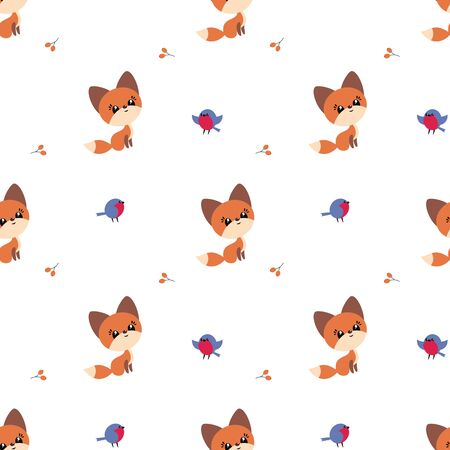 Colorful seamless pattern with cute fox and birds. Christmas vector background. Standard-Bild - 133948095
