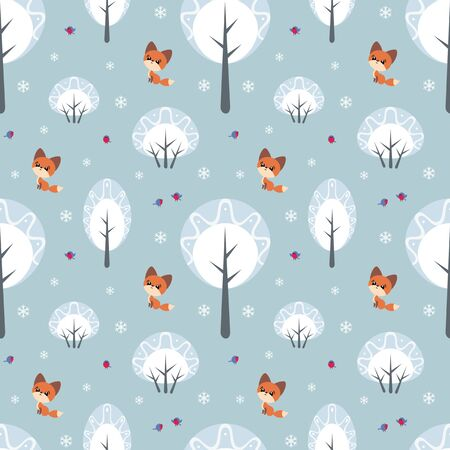 Colorful seamless pattern with cute fox and birds. Christmas vector background. Standard-Bild - 133948098