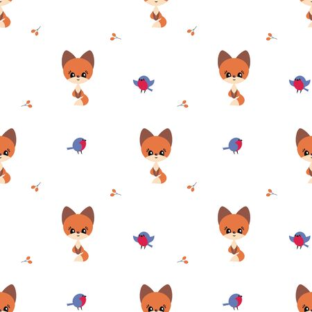 Colorful seamless pattern with cute fox and birds. Christmas vector background.