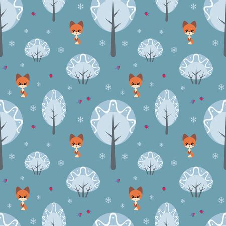 Colorful seamless pattern with cute fox and birds. Christmas vector background. Standard-Bild - 133948169