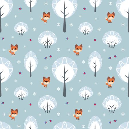 Colorful seamless pattern with cute fox and birds. Christmas vector background. Standard-Bild - 133948170
