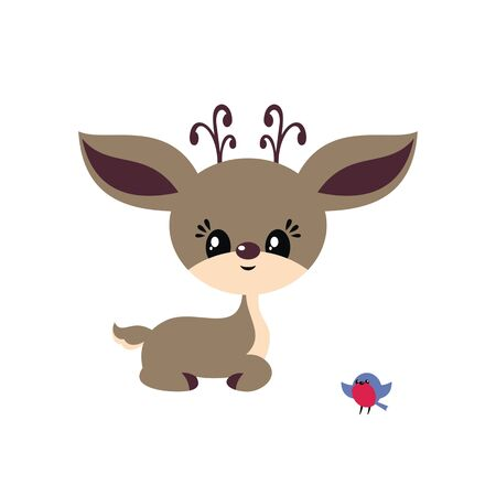 Cute little deer in cartoon style. Christmas vector illustration isolated on a white background. Standard-Bild - 133045979
