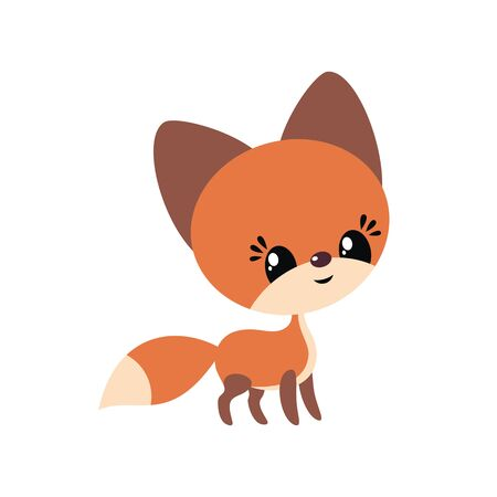 Cute little fox in cartoon style. Vector illustration isolated on a white background.