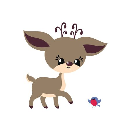 Cute little deer in cartoon style. Christmas vector illustration isolated on a white background. Ilustração