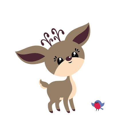 Cute little deer in cartoon style. Christmas vector illustration isolated on a white background. Standard-Bild - 133045363
