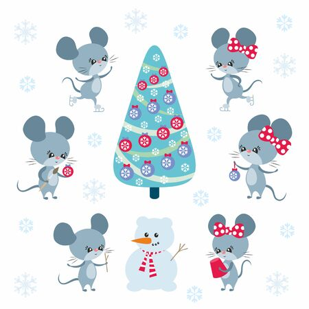 Cute mice set in cartoon style. Christmas vector illustrations isolated on a white background.