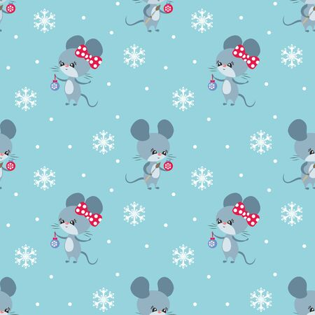 Colorful seamless pattern with cute mice. Christmas vector background. Standard-Bild - 136331823