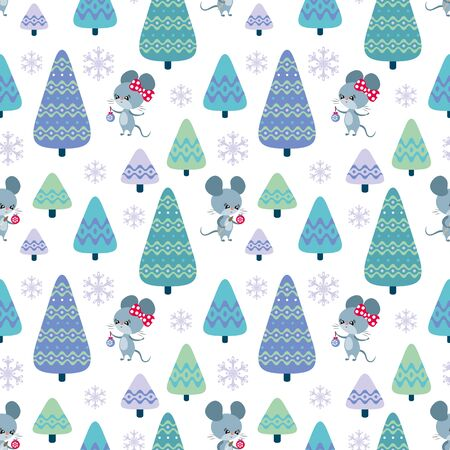 Colorful seamless pattern with cute mice. Christmas vector background. Standard-Bild - 136331826