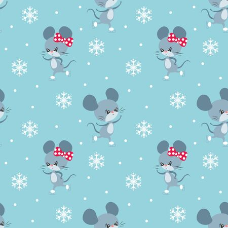 Colorful seamless pattern with cute mice. Christmas vector background. Standard-Bild - 136331829