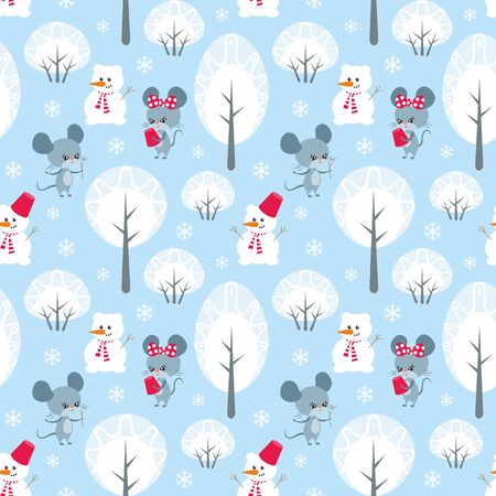 Colorful seamless pattern with cute mice. Christmas vector background. Standard-Bild - 136331830