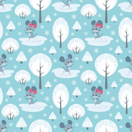 Colorful seamless pattern with cute mice. Christmas vector background. Standard-Bild - 136331832