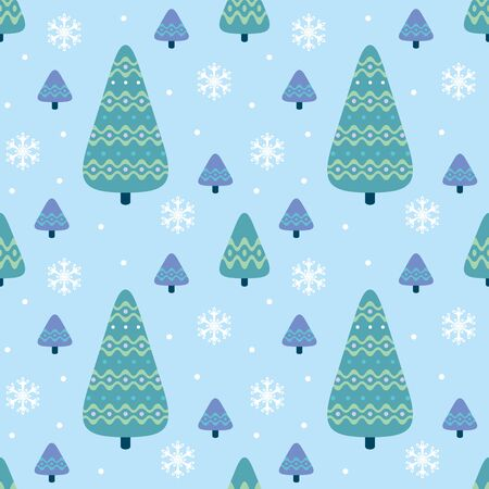 Colorful seamless pattern with firtrees. Christmas vector background. Standard-Bild - 136331835