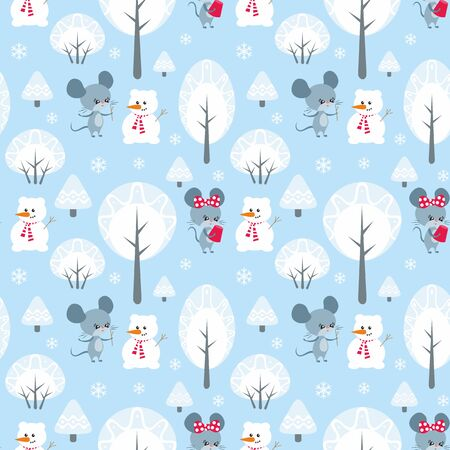 Colorful seamless pattern with cute mice. Christmas vector background. Standard-Bild - 136331836