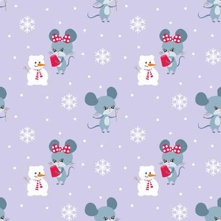 Colorful seamless pattern with cute mice. Christmas vector background. Standard-Bild - 136331837
