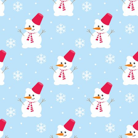 Colorful seamless pattern with cute snowman. Christmas vector background. Standard-Bild - 136331838