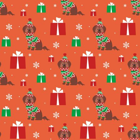 Colorful seamless pattern with cute dog in Christmas costume. Vector background. Standard-Bild - 136331839