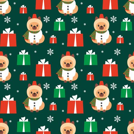Colorful seamless pattern with cute dog in Christmas costume. Vector background. Standard-Bild - 135721390
