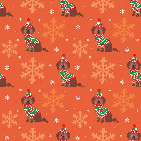 Colorful seamless pattern with cute dog in Christmas costume. Vector background. Standard-Bild - 136331841