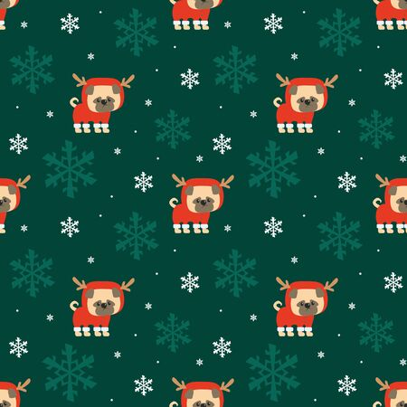 Colorful seamless pattern with cute dog in Christmas costume. Vector background. Standard-Bild - 135721394