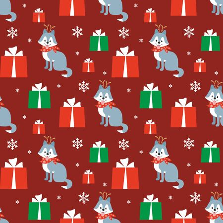 Colorful seamless pattern with cute dog in Christmas costume. Vector background. Standard-Bild - 136331842