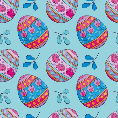 Easter seamless pattern with colored eggs. Colorful vector background. Standard-Bild - 139166948
