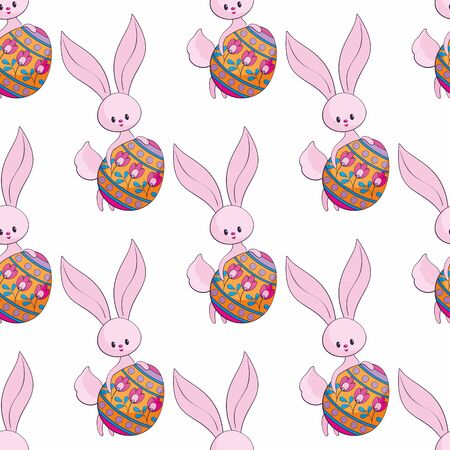 Easter seamless pattern with cute bunnies and colored eggs. Colorful vector background. Standard-Bild - 139166950