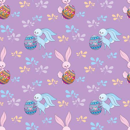 Easter seamless pattern with cute bunnies and colored eggs. Colorful vector background. Standard-Bild - 139166956