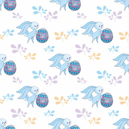 Easter seamless pattern with cute bunnies and colored eggs. Colorful vector background. Standard-Bild - 139166958