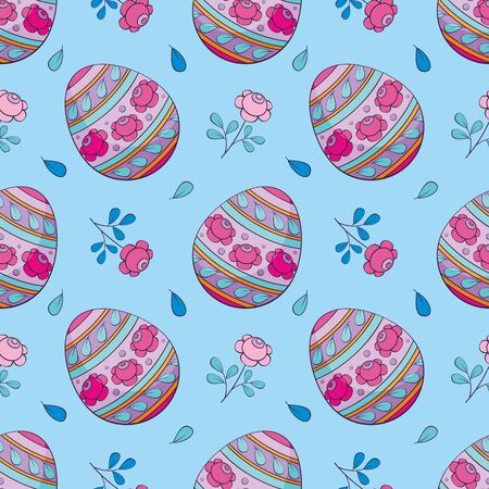Easter seamless pattern with colored eggs. Colorful vector background. Standard-Bild - 139167061
