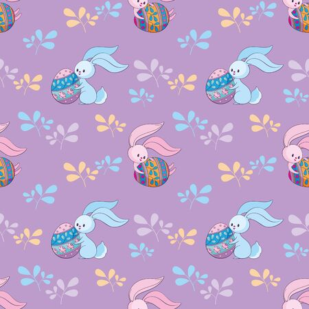 Easter seamless pattern with cute bunnies and colored eggs. Colorful vector background. Standard-Bild - 139166965