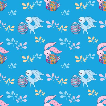 Easter seamless pattern with cute bunnies and colored eggs. Colorful vector background. Standard-Bild - 139166967