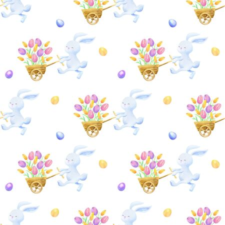 Easter seamless patterns with cute bunnies and colored eggs.  colorful background Standard-Bild - 139166969