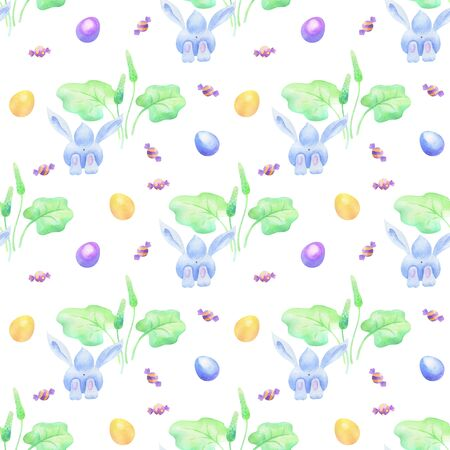 Easter seamless patterns with  cute bunnies and colored eggs.  colorful background Standard-Bild - 139166974