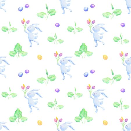 Easter seamless patterns with  cute bunnies and colored eggs.  colorful background Standard-Bild - 139166978