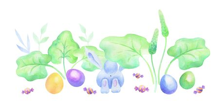 Cute Easter bunny with spring flowers and eggs.    illustration isolated on a white background. Standard-Bild - 139166985