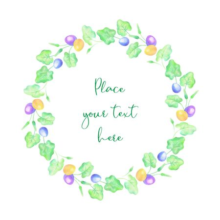 Beautiful Easter wreath with spring flowers and eggs.  illustration isolated on a white background. Standard-Bild - 139166987