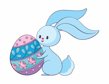 Cute Easter bunny with colored egg. Colorful vector illustration isolated on a white background. Standard-Bild - 139799906